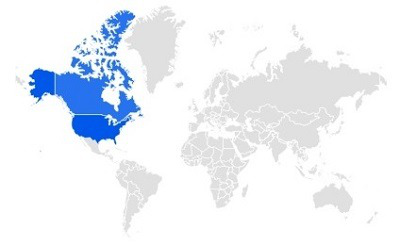 你可以从谷歌的地区地图上看到,它的受欢迎程度主要集中在北美.