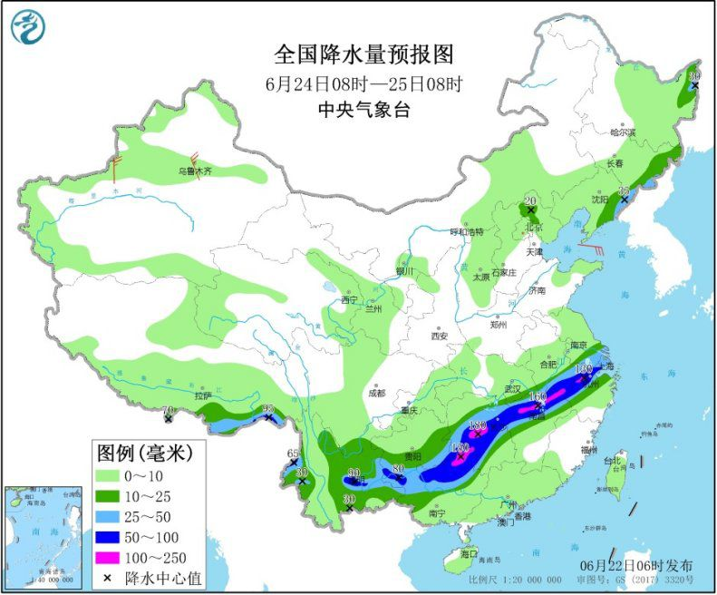 图4 全国降水量预报图(6月24日08时-25日08时) 图片来源:中央气象台