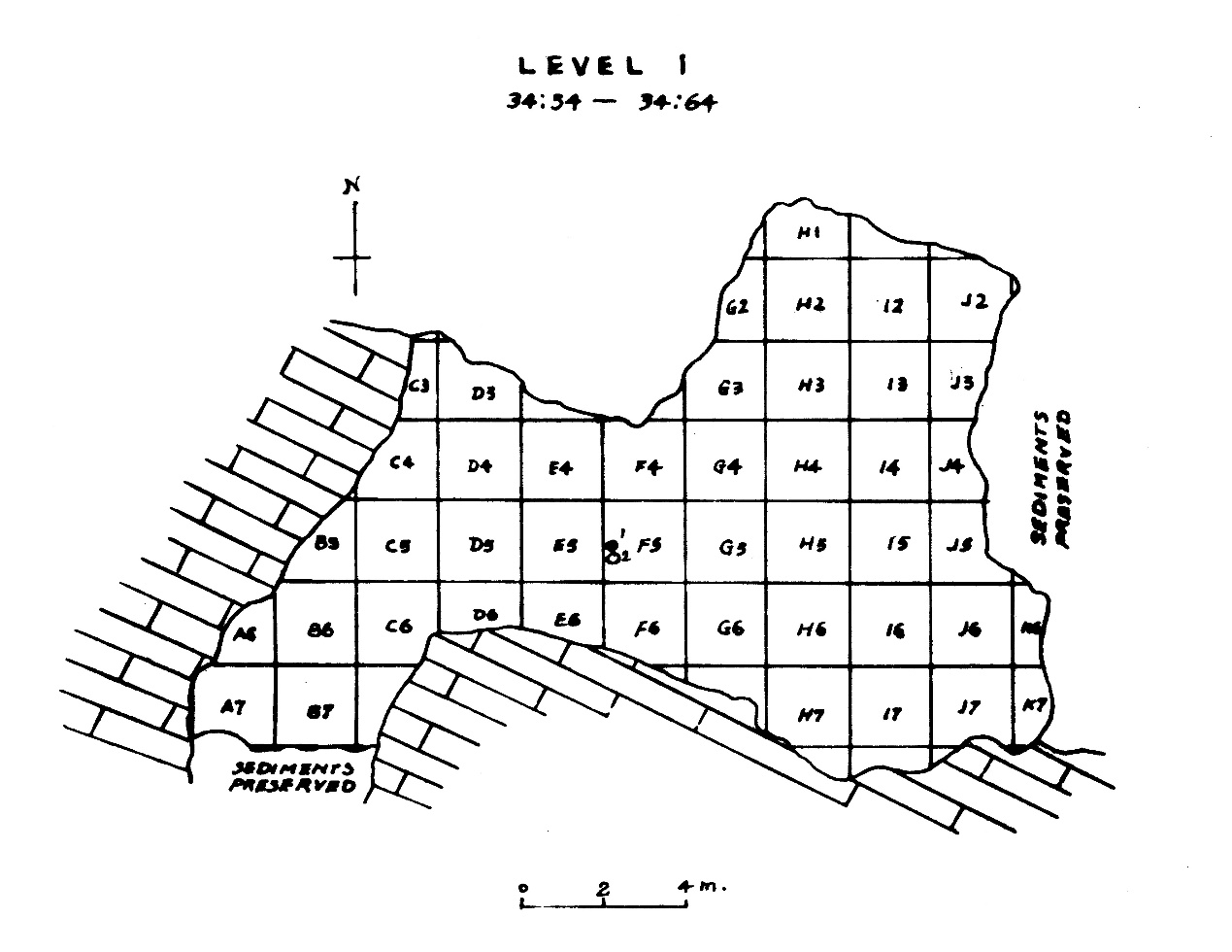 周口店第1地点第1水平层发掘平面图