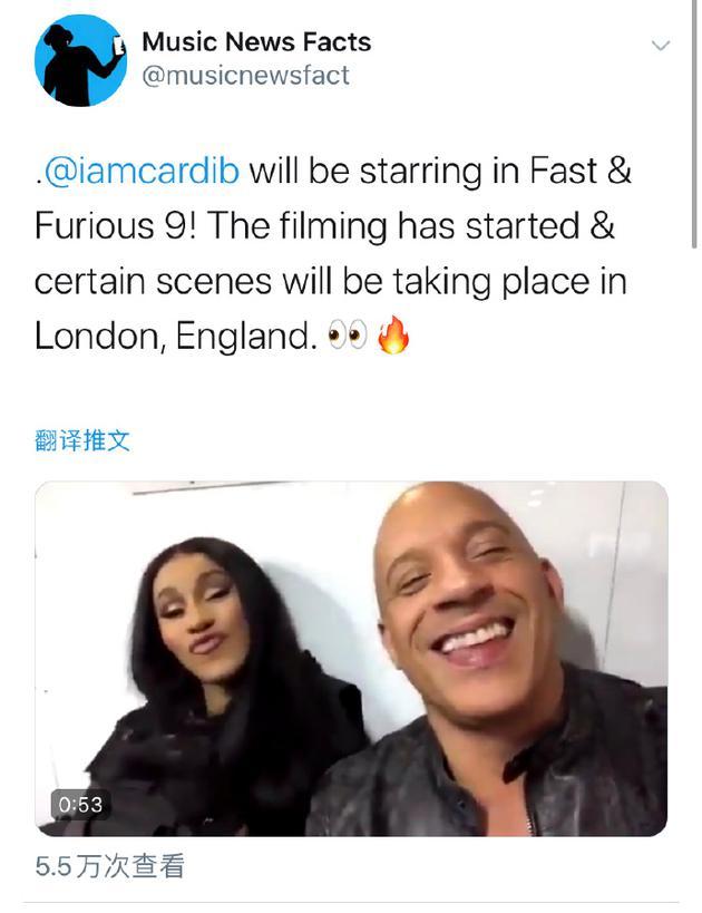 卡迪-B将客串《速激9》 范迪塞尔片场拍视频官宣