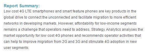 SA报告:低成本4G手机是网络效率和社会收益的关键