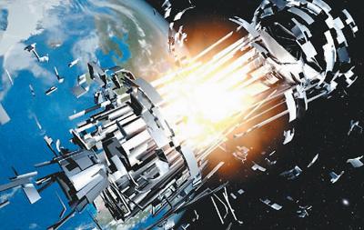 航天器遭受太空碎片袭击解体示意图 图来自百度网