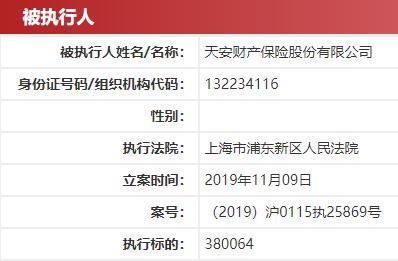 天安财产保险被上海法院列为被执行人 欠款38万拒不履行判决