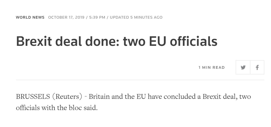 路透社援引两名欧盟官员:脱欧协议已经达成