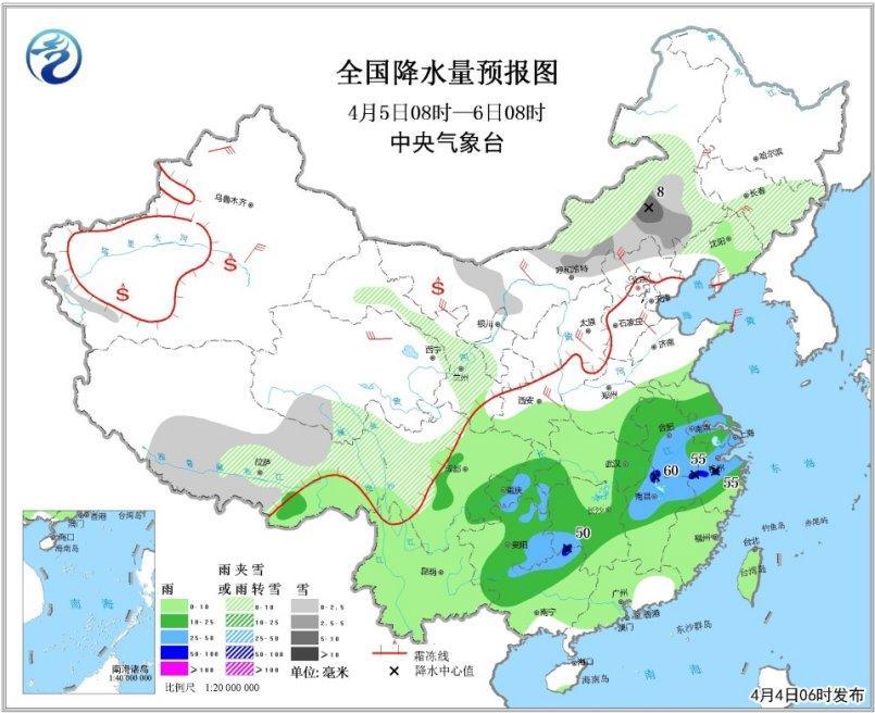 图5 全国降水量预报图(4月5日08时-6日08时)