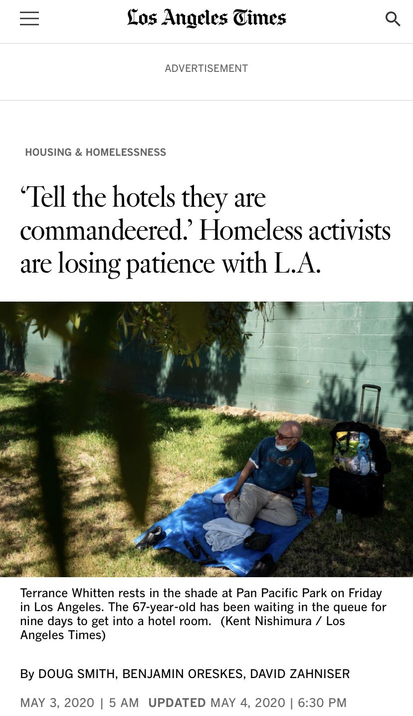 △《洛杉矶时报》指出,有人士呼吁强行征用酒店用于收容无家可归者,但法律程序将使该行动变成耗时的拉锯战