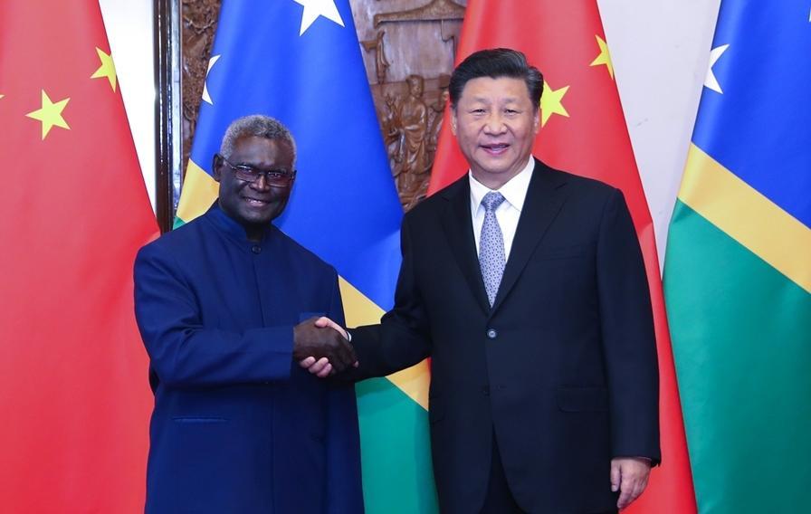 △2019年10月9日,国家主席习近平接见所罗门群岛总理索加瓦雷。