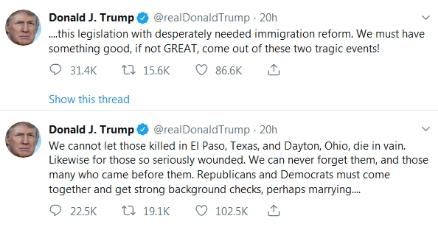 特朗普连发两推谈枪击案:不能让受害者白白牺牲|特朗普|民主党