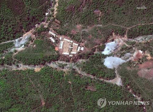 DigitalGlobe于5月23日拍摄的丰溪里核试验场卫星图像(韩联社/路透社)
