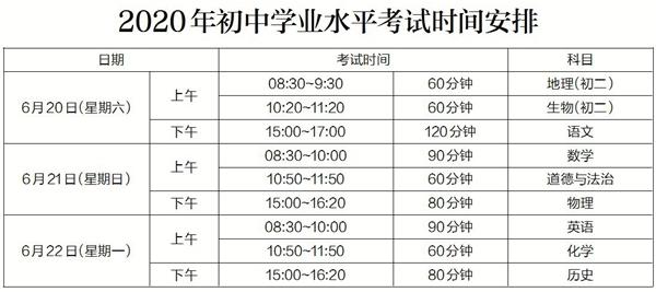 2020年中考时间确定 惠城户籍考生须回惠城报考