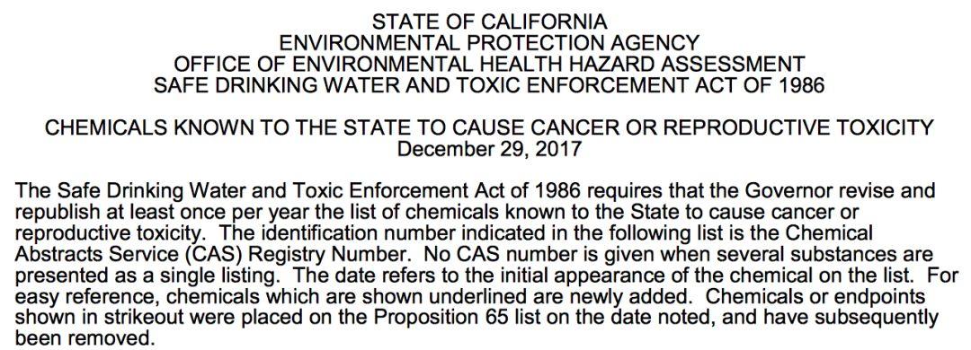 """▲""""65提案""""要求须提醒的化学元素最新清单"""
