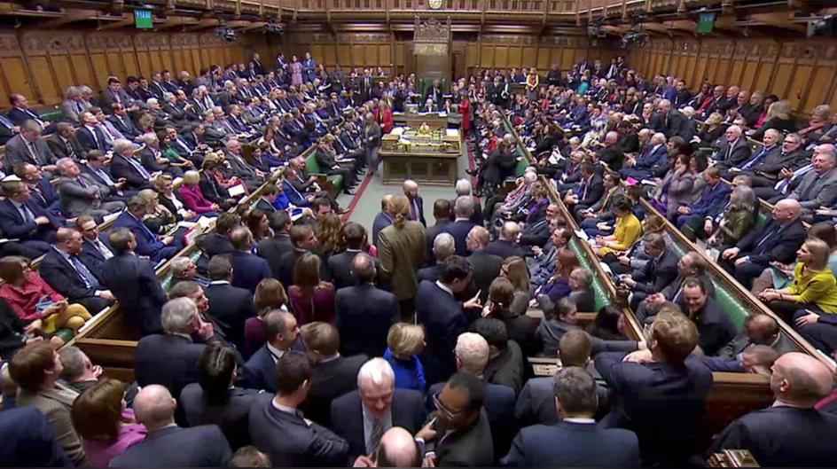 英国下议院就脱欧协议草案进行表决。(图源:路透社)