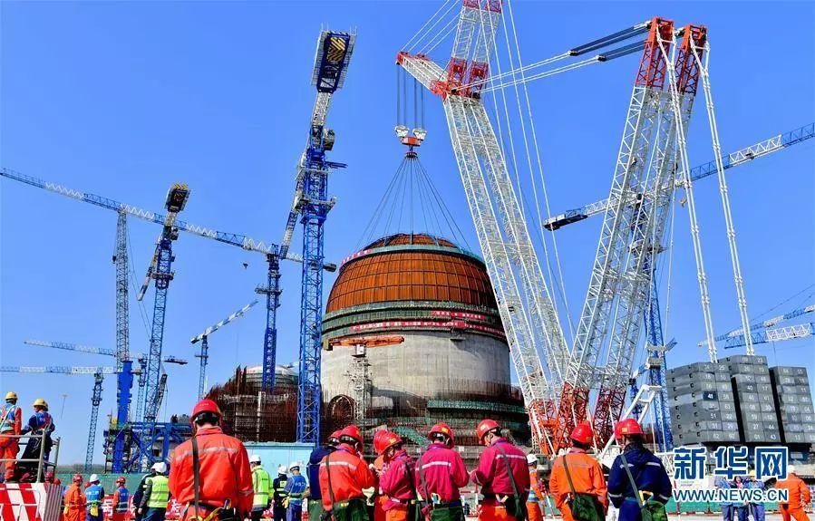 ▲资料图片:2018年3月21日拍摄的中核集团福清核电6号机组反应堆穹顶吊装现场(无人机拍摄)。