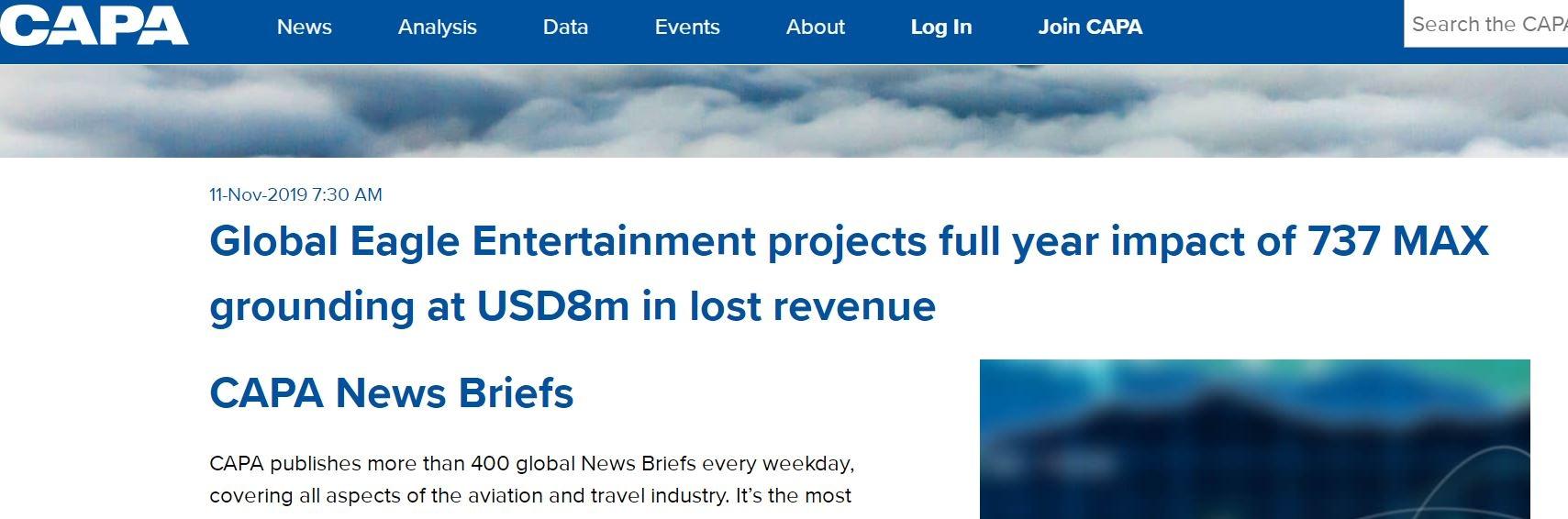 737MAX停飞致全球鹰娱乐全年损失约800万美元