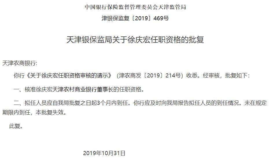 天津农商银行董事长尘埃落定 银监会核准徐庆宏任职资格