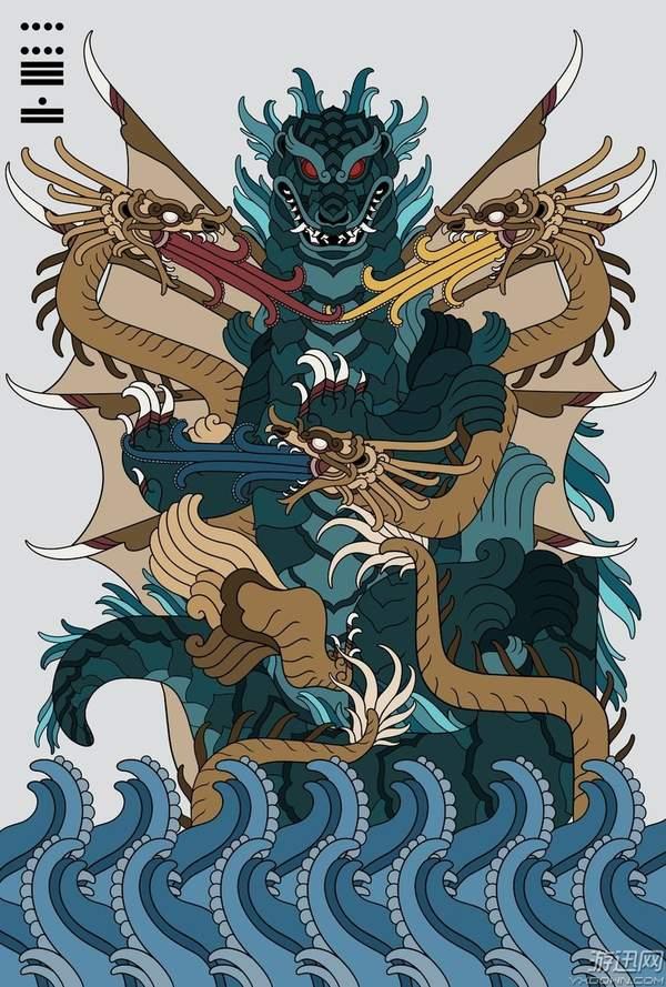 墨西哥艺术家绘制 神话风哥斯拉 怪兽之王变身古神