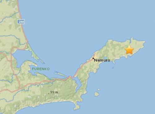 日本东北部发生5.5级地震 震源深度79.9公里
