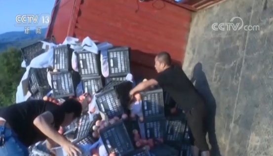 陕西:满载苹果货车侧翻 村民帮捡减少损失