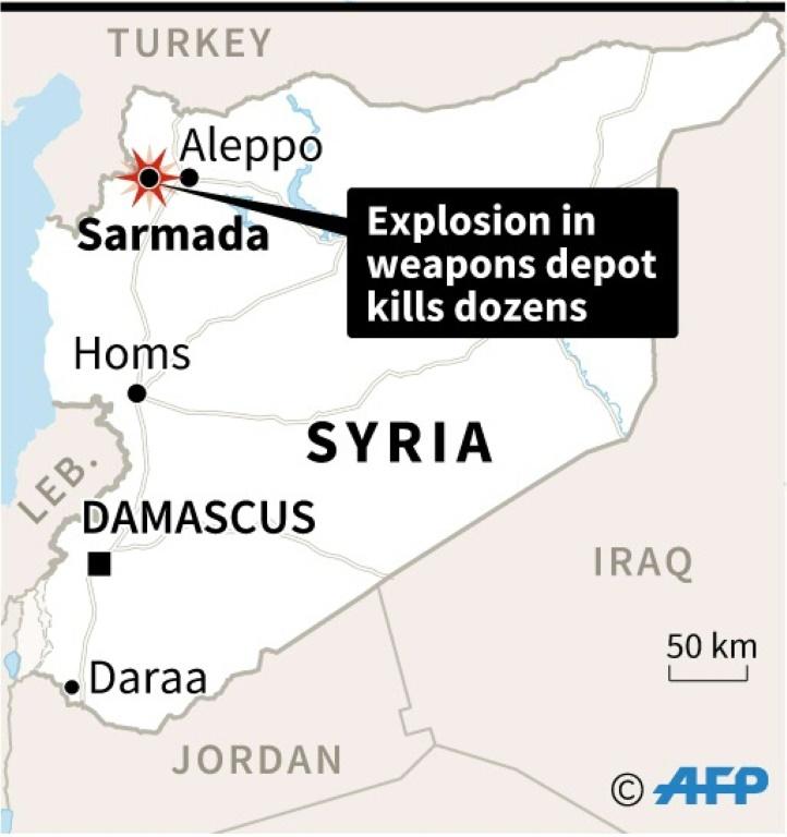 叙利亚一武器库爆炸 39人死亡包括12名儿童