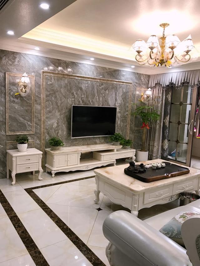 新房装修全屋瓷砖,大理石做的电视墙超美,见过的人都说漂亮!