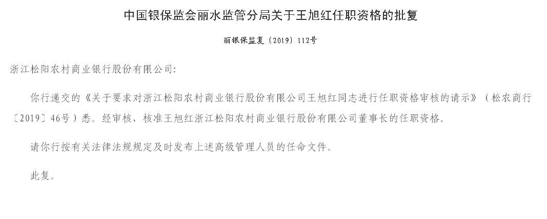 浙江松阳农商银行董事长王旭红任职资格获批 兼任银行行长