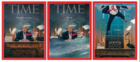 画家奥布莱恩创作的一系列特朗普在白宫办公室的图片