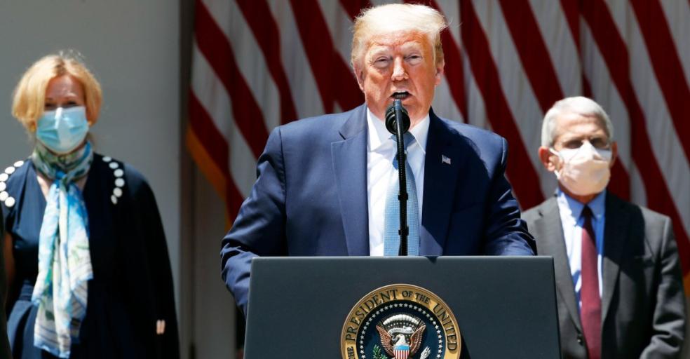 特朗普在白宫玫瑰园发表讲话。/ CNBC网站截图