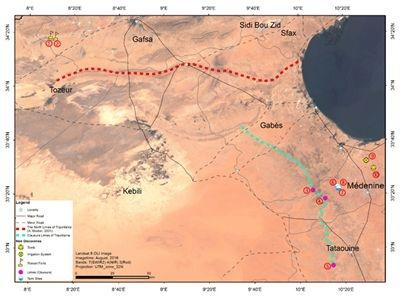 图为我国科学家利用遥感技术在突尼斯南部发现的10处古罗马时期遗存。