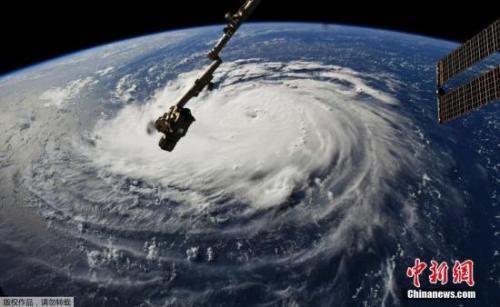 """當地時間2018年9月10日,從國際空間站拍攝的颶風""""佛羅倫薩""""畫面。"""