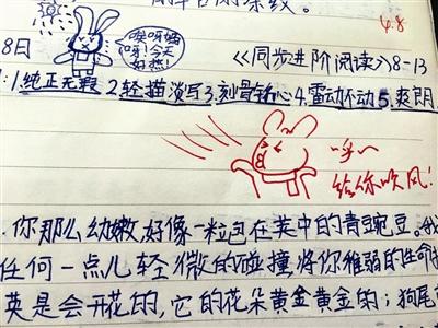 女老师自创兔子漫画写评语 学生喜欢家长赞不绝