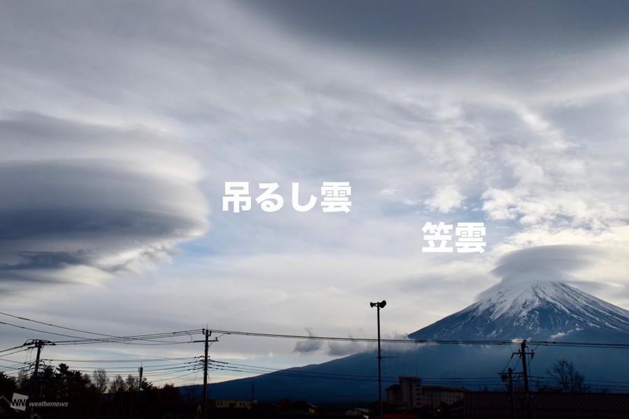 富士山周边的斗笠云和伞云(日本天气新闻)