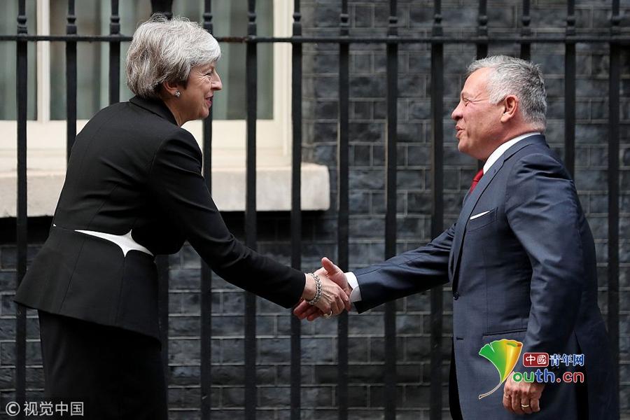 英国首相特蕾莎·梅会见约旦国王阿卜杜拉二世