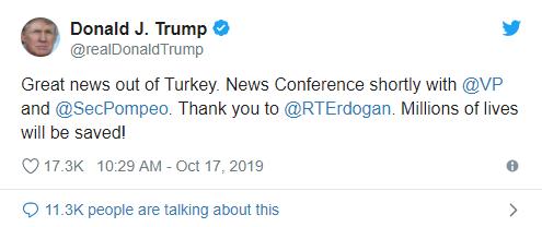 突发!美国和土耳其达成叙利亚停火协议 土耳其里拉急涨