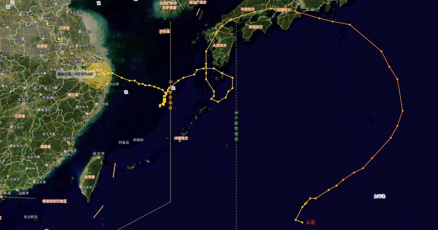 """快讯:台风""""云雀""""今早在上海金山区与浙江平湖市交界处登陆"""