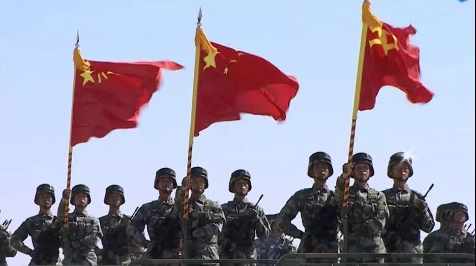 手绘军人图片带国旗