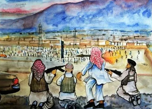 以图画的方式展示什叶派哈扎拉人历次遇袭时的场景
