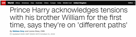 哈里王子接受采访首谈与威廉不和:走的不同道路