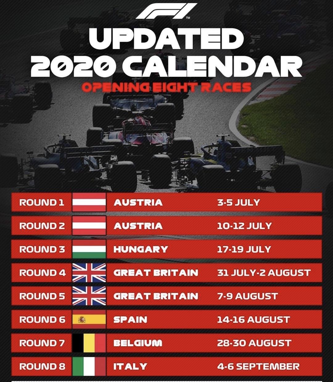 2020赛季F1前8站赛程。网络截图