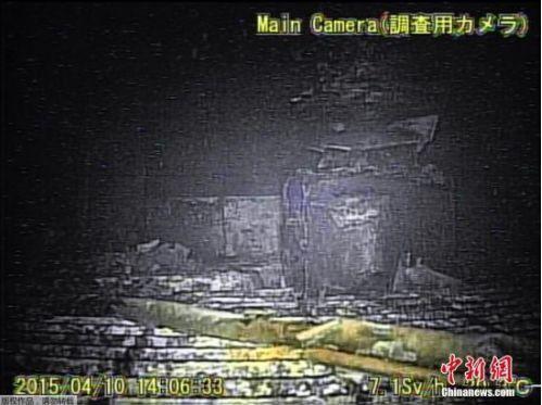 图为机器人拍摄的福岛核电站反应堆情况