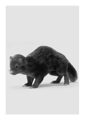 最后完成的作品从远处看,动物身上的皮毛看似顺滑柔软,反射着光亮,但