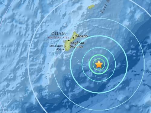 关岛附近海域发生5.6级地震 震源深度15.6公里
