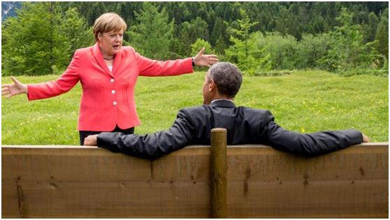 德新社记者卡佩勒尔2015年G7峰会期间拍摄的一张照片。