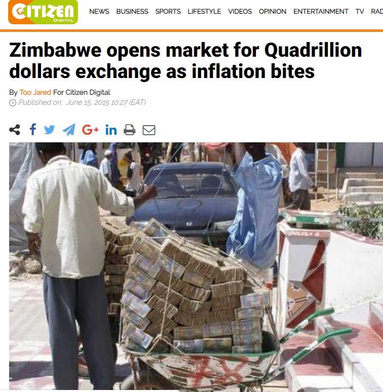 津巴布韦人推着一车钞票买菜