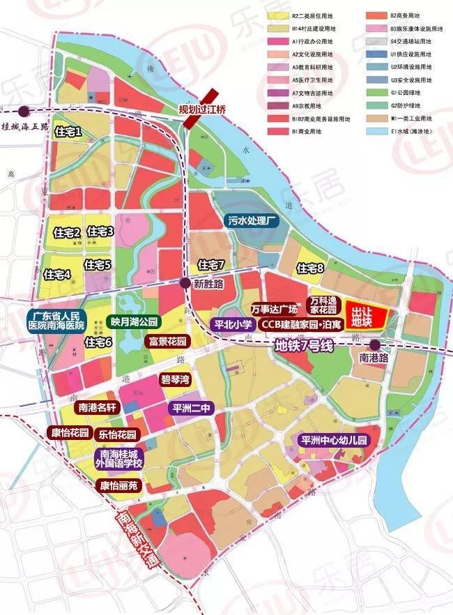 平洲片区旧城区规划图   用地布局方面,片区内城市建设用地面积为483.9公顷,将保留南港路以北,新胜两侧的新型居住片区.