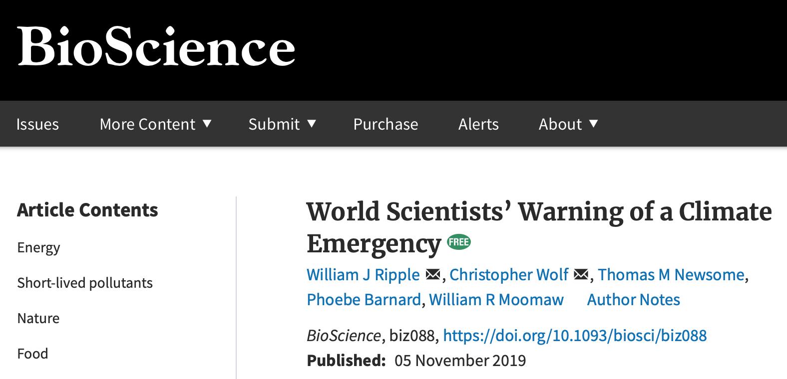 超过11000位科学家发出气候危机警告。BioScience期刊截图