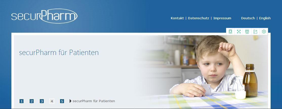"""图片说明:图为德国非营利组织办的""""药品安全(securPharm)""""网,民众可以从该网查找包括疫苗在内的各种医药产品的安全信息。"""