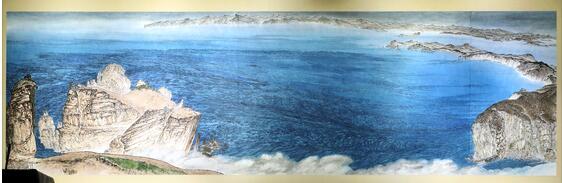 图注:画家申泰秀(音)的作品《从头武镇到长山岬》