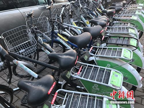 北京路边一排共享单车长期无人使用,车座落满灰尘。中新网 吴涛 摄