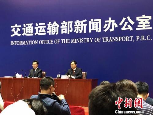 交通部例行消息宣布会现场。中新网记者 程春雨 摄。