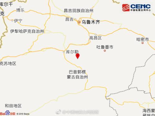 新疆巴音郭楞州尉犁县附近发生4.9级左右地震